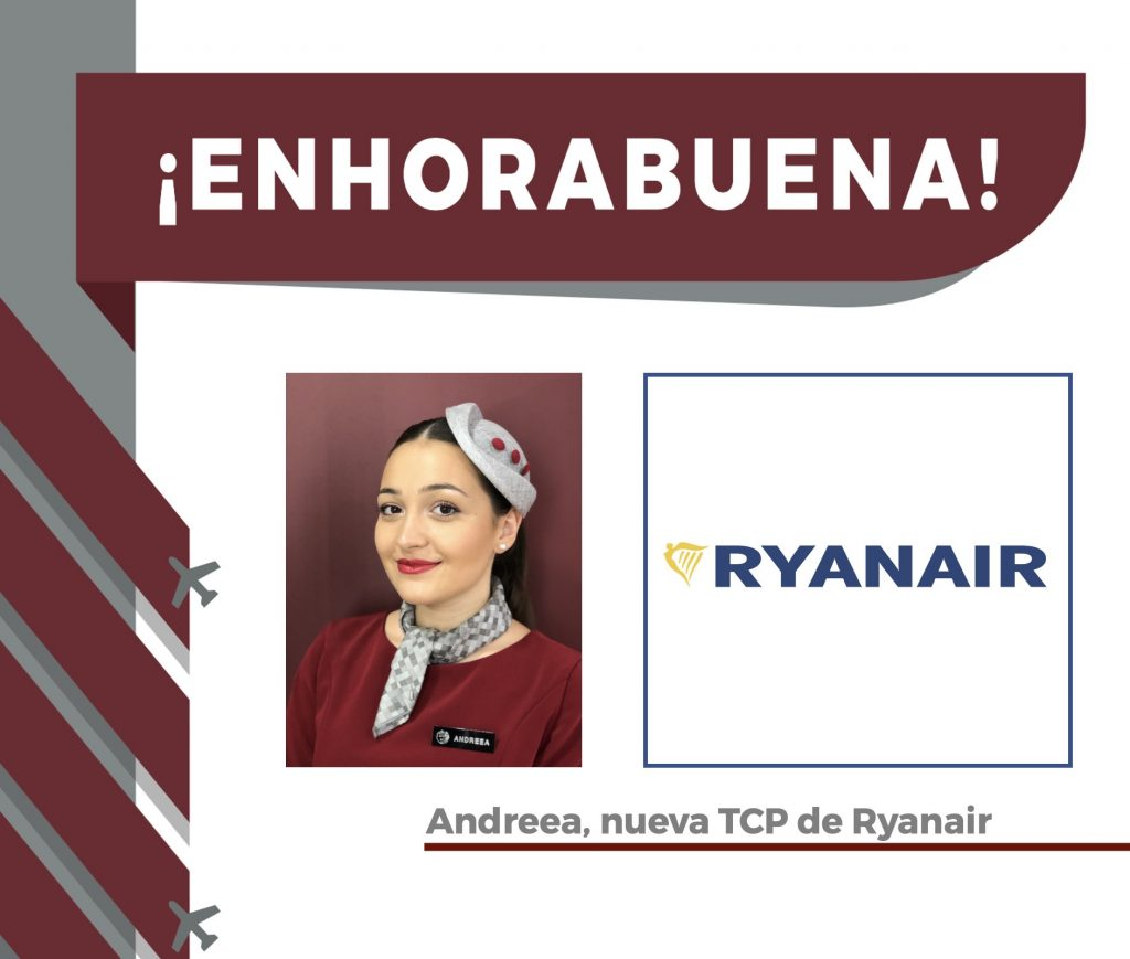 Andreea, alumna Global Crew, ya es nueva TCP en Ryanair.